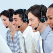 Concentrated business using headset — Stock Photo #10290837