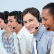 Stock Photo: Confident customer service representatives with headset on