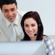 Assertive manager checking his employee's work — Stock Photo