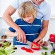 Jolly father and his son cooking — Stock Photo #10290934