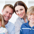 Portrait of a jolly family smiling at the camera - Stock Photo