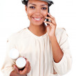 Charismatic female architect on phone - Stock Photo