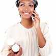 Afro-American female architect on phone — Stock Photo #10291032