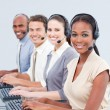 Stock Photo: International customer service representatives using headset