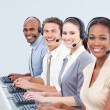affari sicuri, lavorando in un call center — Foto Stock