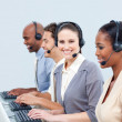 Assertive customer service representatives in a call-center — Stock fotografie
