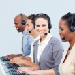 Stock Photo: Assertive customer service representatives in a call-center