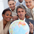 Visionary business smiling at global business expansion — Stock Photo