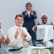 Portrait of a successful business team at work - Stock Photo