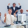 Victorious business team celebrating a success — Stockfoto