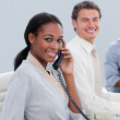 Smiling business group working hard in the office — Stock Photo #10291679