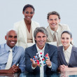 Ambitious business team showing a molecule — Foto de Stock