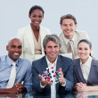 Ambitious business team showing a molecule — Stock Photo