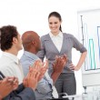 Cheerful business clapping a good presentation — Stock Photo