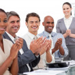 Happy business team applauding a good presentation — Stock Photo