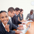 Smiling Indian businesswoman in a meeting — Stock Photo