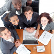 Business working together with a laptop — Stock Photo