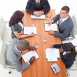High Angle of businessteam having a meeting — Stock Photo #10292168