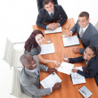High Angle of happy business in a meeting — Stock Photo