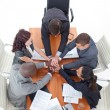 High angle of business team with hands together — ストック写真 #10292176