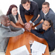 High angle of business with hands together — Stock Photo