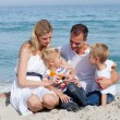 Stock Photo: Caring mother with her family holding sunscreen
