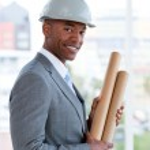 Portrait of a positive male architect — Stock Photo