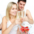 Couple toasting with champagne to an engagement — Foto de Stock