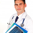 Doctor holding folders — Stock Photo