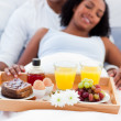 Stock Photo: Focus on breakfast tray