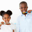 Smiling brother and sister brushing their teeth — Stock Photo #10293040