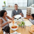 图库照片: Afro-american family dining together