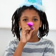 Portrait of a little boy at a birthday party — Stock Photo