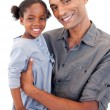 Happy Afro-American dad holding her little daughter — Stock Photo