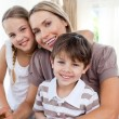 Portrait of a mother with her children — Stock Photo
