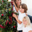 Young family decorating a Christmas tree — Stock Photo #10293580