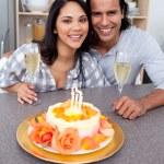 Enamoured couple celebrating — Stock Photo