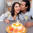 Affectionate couple celebrating — Stock Photo #10293788