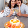 Intimate couple celebrating — Stock Photo