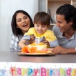 Jolly family celebrating the son's birthday — Stock Photo #10293995