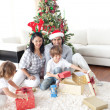 Family decorating a Christmas tree — Stock Photo #10294005