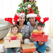 Family decorating a Christmas tree — ストック写真 #10294031