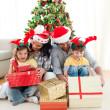 família decorar uma árvore de Natal — Foto Stock