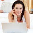 Close-up of woman using laptop — Stock Photo