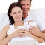 Romantic couple drinking coffee — Stock Photo