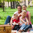 Family having a picnic smiling at the camera — Foto de Stock