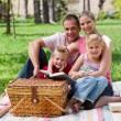Happy family having fun in a park — Stock Photo