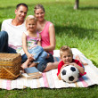 Parents and children relaxing at a picnic — Stock Photo
