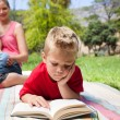 Stock Photo: Serious little boy reading while having a picnic with his family