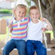 Stock Photo: Cute siblings swinging